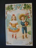 Enfants élégants Portant Myosotis Et Pot De Roses, Cadre Trèfles Et Myosotis - Gaufrée - Série 1407 - Enfants