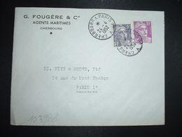 LETTRE TP M. DE GANDON 10F +5F OBL. AMBULANT 24-4 1952 CHERBOURG A PARIS 2° A (50 MANCHE) G. FOUGERE & Cie AGENTS MARIT - Marcofilia (sobres)