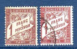 """1893 France Taxe """"type Duval"""" Variété De Couleurs 2xN°40A (ou N°25 Et 40A?) Ex. N°1   0,50 € (cote ?, 2 Valeurs) - Varieteiten: 1900-20 Afgestempeld"""