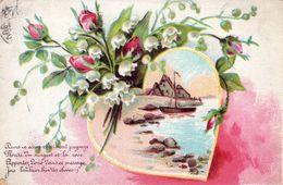 """CARTE FANTAISIE - Coeur Entouré De Muguet Et Roses - """" Dans Ce Charmant Paysage , Fleuri Du Muguet Et La Rose........"""" - Tarjetas De Fantasía"""