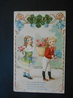 Enfants élégants Portant Hotte Pleine De Roses Et Bouquet De Myosotis, Cadre Trèfles Et Myosotis-gaufrée - Série 1407 - Enfants