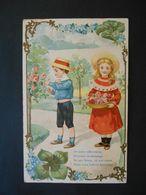 Enfants élégants Cueillant Des Roses, Cadre Trèfles Et Myosotis-gaufrée - Série 1407 - Enfants