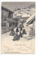 25553 - Plaisirs D'hiver Partie De Luges  Enfants + Cachet Linaire Château-d'Oex - VD Waadt