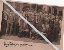"""OUDENAERDE..1936.. DE BOWLING MAATSCHAPPIJ """"DE PLEZANTE KEGELAARS """" VIERDEN FEEST - Vieux Papiers"""