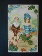 Enfants élégants Avec Brouette Pleine De Roses Et Panier De Myosotis, Cadre Trèfles Et Myosotis-gaufrée - Série 1407 - Enfants