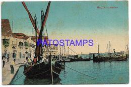 137521 MALTA VIEW PARTIAL MARINE & BOAT SPOTTED POSTAL POSTCARD - Malta