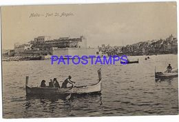 137523 MALTA FORT ST ANGELO & BOAT POSTAL POSTCARD - Malta