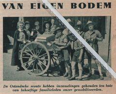 OOSTENDE..1940.. DE SCOUTS HOUDEN INZAMELING TEN BATE ONZER GEMOBILISEERDEN - Vieux Papiers
