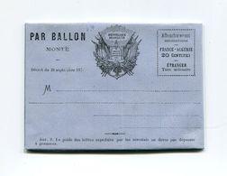 !!! PRIX FIXE : GUERRE DE 1870, FORMULAIRE DE BALLON MONTE NEUVE - Postmark Collection (Covers)