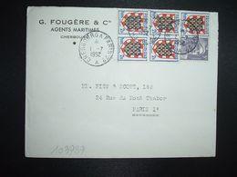 LETTRE TP M. DE GANDON 5F + TOURAINE 2F BLOC DE 5 OBL. AMBULANT 1-7 1952 CHERBOURG A PARIS 2° A (50 MANCHE) G. FOUGERE - Marcofilia (sobres)