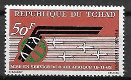TCHAD   -    Aéro   -  Y&T N° 10 **.  Mise En Service D' Air Afrique.  Avions - Tschad (1960-...)