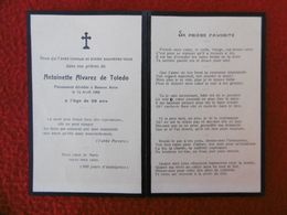 FAIRE PART DECES ANTOINETTE ALVAREZ DE TOLEDO 1908 BUENOS AIRES - Décès