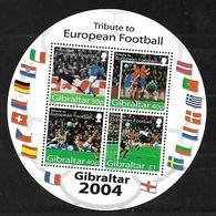 GIBRALTAR 2004 TRIBUTE TO EUROPEAN FOOTBALL CIRCULAR BLOCK Mnh - Europa-CEPT