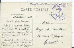 """CACHET MARITIME - TORPILLEUR D  ESCADRE """" CHASSEUR """"sur Carte Postale Port De BONIFACIO - Marcophilie (Lettres)"""