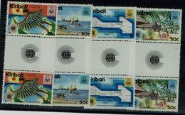 KIRIBATI 1983 COMMONWEALTH TAG PAIR WITH GUTTER MI No 417-20 MNH VF !! - Kiribati (1979-...)