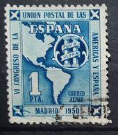 ESPAGNE / ESPANA / SPAIN / SPANIEN 1951 Aereo,Union Postale Des Amériques Et Espagne,Yvert PA 248,1 Peseta Bleu Obl, TB - Poste Aérienne