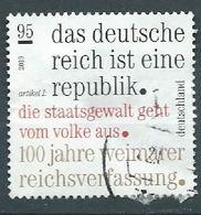 ALLEMAGNE ALEMANIA GERMANY DEUTSCHLAND BUND 2019 100TH YEARS OF WEIMAR CONSTITUTION USED ON PAPER MI 3488 YT 3273 - [7] République Fédérale
