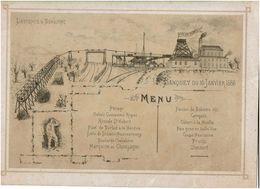 Menu - Banquet 1886 - Société Anonyme Des Charbonnages De Patience Et Beaujonc - 2 Scans - Menus