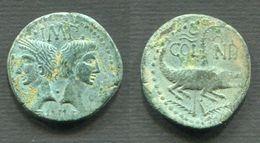AUGUSTE 27 Av.JC-14 Ap.JC - DUPONDIUS DE NIMES - TYPE RARE AGRIPPA BARBU - 1. The Julio-Claudians (27 BC To 69 AD)