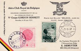 Coupe Gordon Bennett Poste Par Ballon Belgica Erinofilie - Bélgica