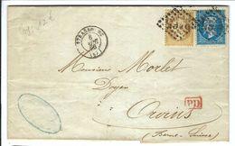 FRANCE 1866: LAC De Strasbourg Pour Orvins (Suisse) Avec Les Y&T 21-22 Obl. GC 3465 (Ind.1) - 1862 Napoléon III