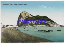 137560 GIBRALTAR ROCK FROM SPANISH BEACH & BOAT POSTAL POSTCARD - Gibraltar
