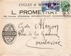 V7S Enveloppe Timbrée Timbre Exposition Paris 1925 Entête 08 Charleville Cycles Motos Pneu Goodrich - Marcofilia (sobres)