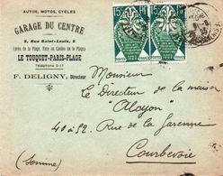 V7SA Enveloppe Timbrée Timbre Exposition Paris 1925 Entête 62 Le Touquet Paris Plage Garage Du Centre Autos Motos Cycles - 1921-1960: Periodo Moderno
