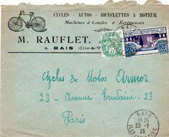 V7SA Enveloppe Timbrée Timbre Exposition Paris 1925 Entête 35 Bais Rauflet Cycles Autos Bicyclettes à Moteur - Marcofilia (sobres)