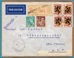 1945 Lettre Recommandée De 13 MARSEILLE-ARENE Pour FERKESSEDOUGOU Côte-d'Ivoire (Affranchissement Composé) Par Avion - Marcofilia (sobres)