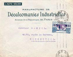 V7SA Enveloppe Timbrée Timbre Exposition Paris 1925 Entête Paris Décalcomanies Industrielles L'Auto Décor - Marcofilia (sobres)