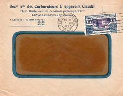 V7SA Enveloppe Timbrée Timbre Exposition Paris 1925 Entête 92 Levallois Perret Carburateurs Et Appareils Claudel - Marcofilia (sobres)