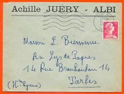 1956 Lettre à En-tête ACHILLE JUERY (81) ALBI Tarn - Marcofilia (sobres)