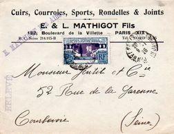 V7SA Enveloppe Timbrée Timbre Exposition Paris 1925 Entête Paris Cuirs Courroies Sports Joints Mathigot - Marcofilia (sobres)