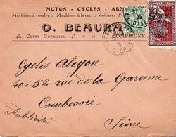 V7SA Enveloppe Timbrée Timbre Exposition Paris 1925 Entête 60 Compiegne Motos Cycles Armes Fusil Au Verso - Marcofilia (sobres)