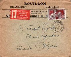 V7SA Enveloppe Timbrée Timbre Exposition Paris 1925 Entête 14 Beaumont Bouillon Publicités Pubs Verso - Marcofilia (sobres)