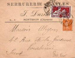V7SA Enveloppe Timbrée Timbre Exposition Paris 1925 Entête 16 Montbron Dazini Serrurerie & Clés - Marcofilia (sobres)