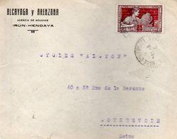 V7SA Enveloppe Timbrée Timbre Exposition Paris 1925 Entête Alcayaga Y Arenzana Agencia De Aduanas Irun Hendaye - Marcofilia (sobres)