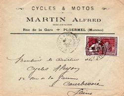 V7SA Enveloppe Timbrée Timbre Exposition Paris 1925 Entête 56 Ploermel Cycles & Motos Martin Alfred - Marcofilia (sobres)