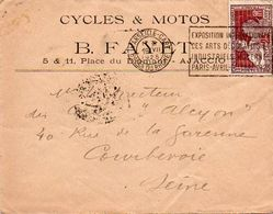 V7SA Enveloppe Timbrée Timbre Exposition Paris 1925 Entête Ajaccio Place Du Diamant Cycles Et Motos Fayet - Marcofilia (sobres)
