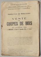 Inspection De Mirecourt (Vosges), Vente Coupes De Bois 1938 - Sammlungen