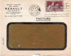 V7SA Enveloppe Timbrée Timbre Exposition Paris 1925 Entête Billancourt Usines Renault - Marcofilia (sobres)
