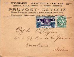 V7SA Enveloppe Timbrée Timbre Exposition Paris 1925 Entête 62 Marck Cycles Alcyon Olga Pruvost Cayoux Réparations - Marcofilia (sobres)