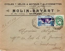 V7SA Enveloppe Timbrée Timbre Exposition Paris 1925 Entête 62 Saint Pol Cycles Velos Moteur Alcyonnettes Molin Bayart - Marcofilia (sobres)