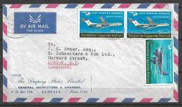 USED AIR MAIL COVER TANGANYIKA, UGANDA TO ENGLAND AIRPLANE - Kenya, Uganda & Tanganyika