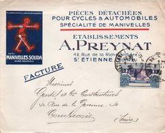V7SA Enveloppe Timbrée Timbre Exposition Paris 1925 Entête 42 St Etienne Pieces Detachées Cycles Autos A. Preynat - Marcofilia (sobres)