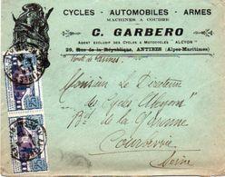 V7SA Enveloppe Timbrée Timbre Exposition Paris 1925 Entête 06 Cycles Motocycles Alcyon Autos Armes C. Garbero - Marcofilia (sobres)