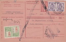 Carte Récépissé Roulette Refusé Ontvangkaart 714 + Timbre Fiscal - Belgium