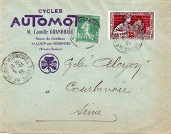 V7SA Enveloppe Timbrée Timbre Exposition Paris 1925 Entête 70 St Loup Sur Semouse Cycles Automoto C. Grandhaye - Marcofilia (sobres)