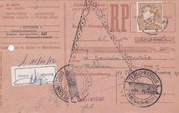 Carte Récépissé Roulette Ontvangkaart Cachet Retour Terug Impayé 847 Vignette Absent Afwezig - Belgium